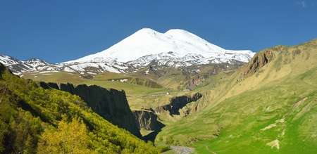 elbrus: This is sunny landscape in Caucasus mountains,valley about Elbrus Stock Photo