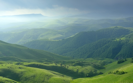 somber: This is somber morning in Caucasus mountains in summer