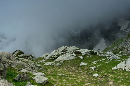 somber: This is somber landscape in Caucasus mountains in summer