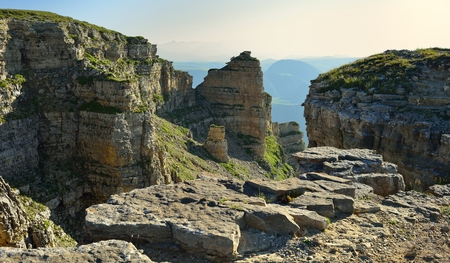 the crags: This is colorful crags in Caucasus mountains in evening Stock Photo