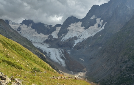somber: This is somber valley in Caucasus mountains in summer Stock Photo