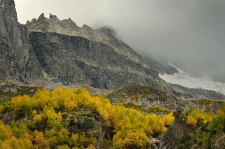 somber: This is somber day in Caucasus mountains in autumn Stock Photo