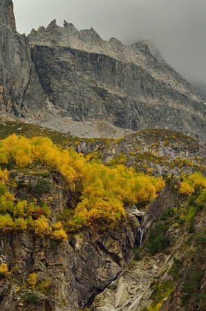 somber: This is somber day in Caucasus mountains in fall