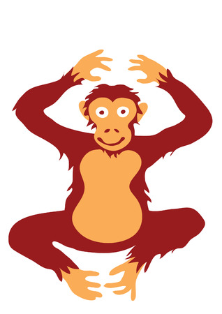 Simple flat coloured drawing of ape, stylised like illustration for children Ilustração