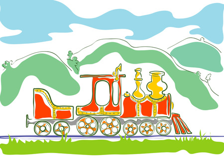 Coloured stylised drawing for children of small old steam engine driving by hilly country Ilustração
