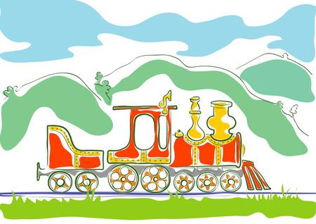 accidentado: Dibujo estilizado de color para ni�os de corta de edad m�quina de vapor de conducci�n de pa�s monta�oso