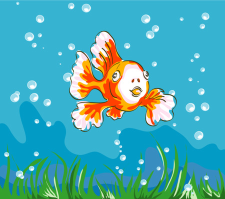Coloured realistic drawing for children of veil fish with bubbles and grass