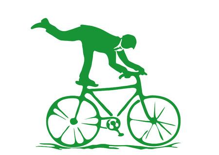 circus bike: simple dibujo de planos excercising hombre de negocios en una bicicleta como un artista de circo  Vectores