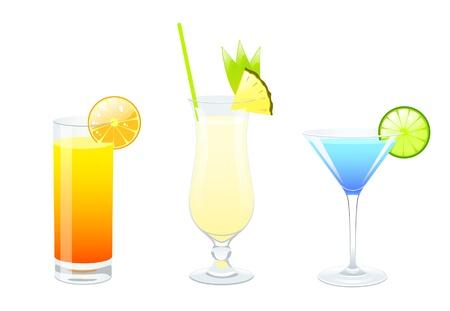 pina: set of cocktails illustrations