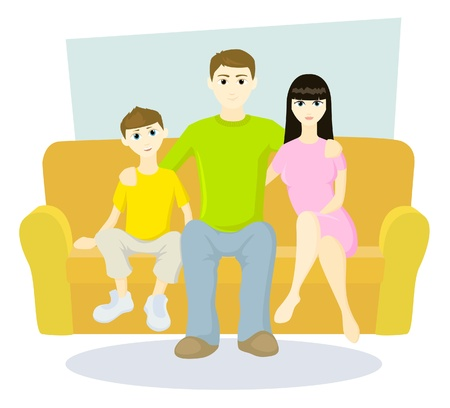 Family on sofa Illustration