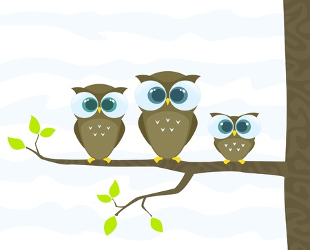three leaves: family of owls