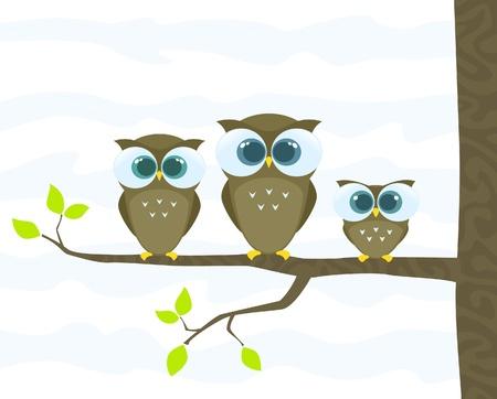 three leaf: family of owls