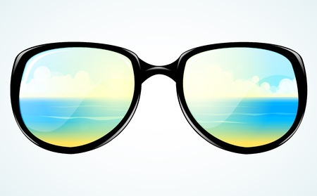sunny beach: sunglasses with reflection