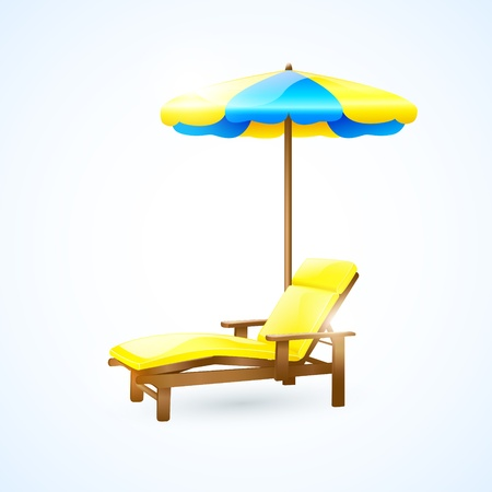 wood chair: Deck chair with umbrella  Illustration