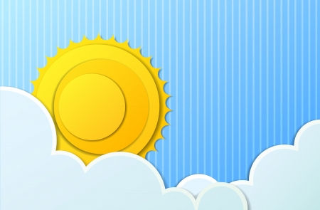 background with sun and clouds Vector