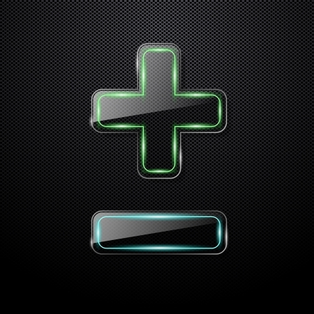 plus symbol: Futuristic glass plus and minus signs