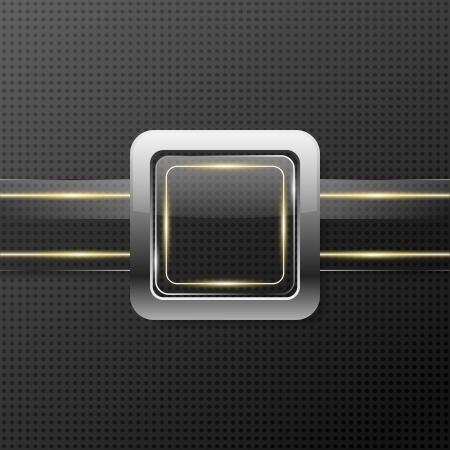 luminescent: Futuristic glass plate on metal background