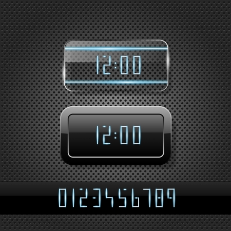 Futuristic clock on metal background  Vector