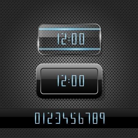 digital clock: Futuristic clock on metal background