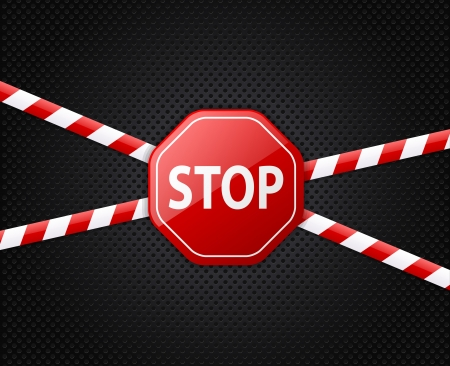 Caution tape and stop sign on black background  Vector