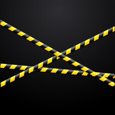 police tape: Caution tape on black background Illustration