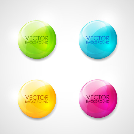 blue button: Colorful round vector labels Illustration
