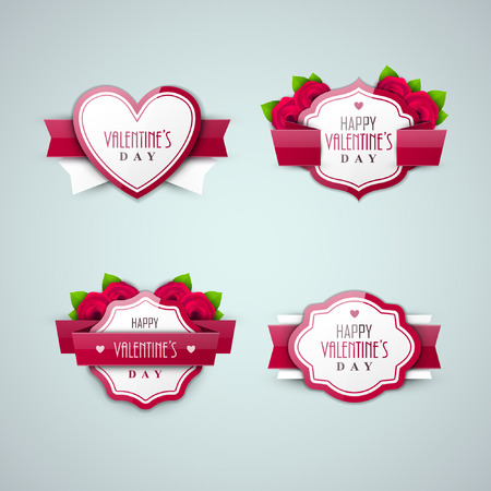 Bright Valentine`s day labels