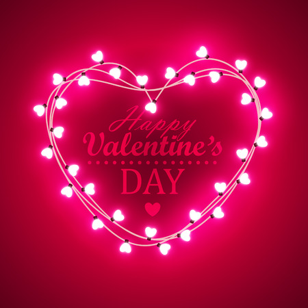 shiny hearts: Valentine`s day background with bright lights