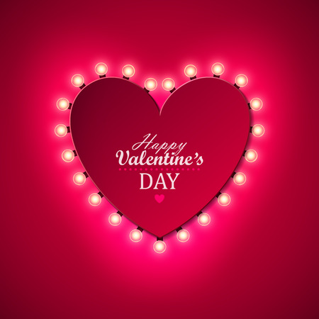 Valentine`s Day Background With Bright Lights Vector