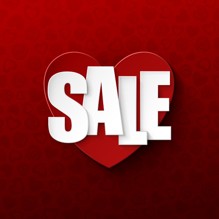 Valentine`s day sale background Vector