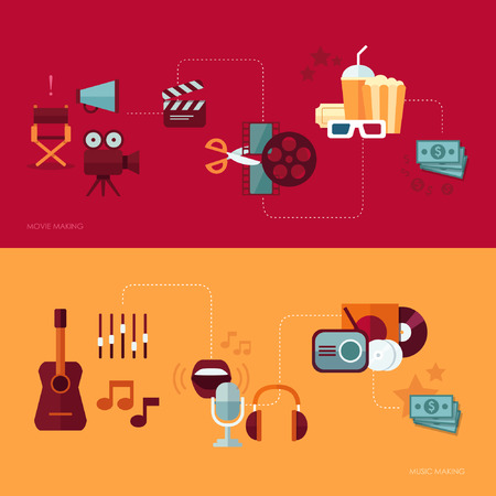 movie and popcorn: Set of vector flat design concept illustrations with icons of movie and music making