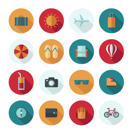 Set of vector flat design concept icons for travel and vacation