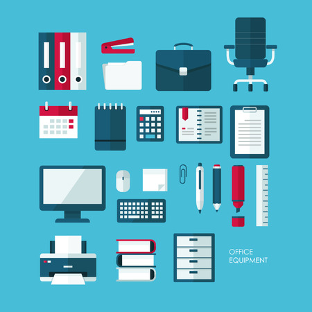 desk calendar: Set of vector flat design concept icons of office equipment