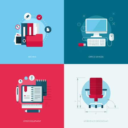 writing equipment: Set of vector flat design concept illustrations with icons of office equipment and devices