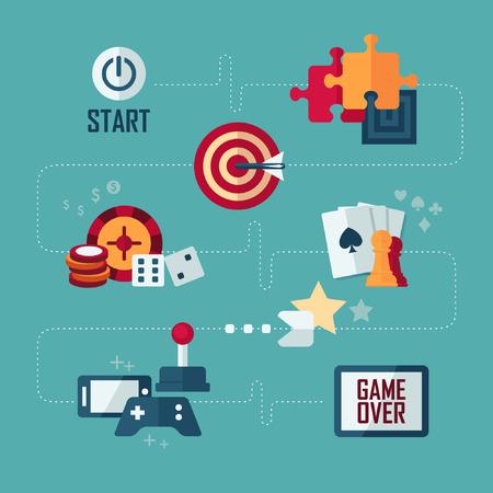 jeu de carte: Ensemble d'icônes concept vecteur de design plat de jeux