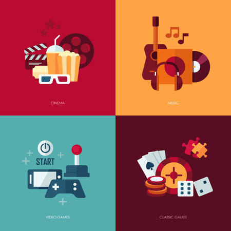 entertainment concept: Set of vector flat design concept illustrations with icons of entertainment