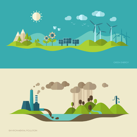 environment: Flat design vector concept illustration with icons of ecology, environment, green energy and pollution