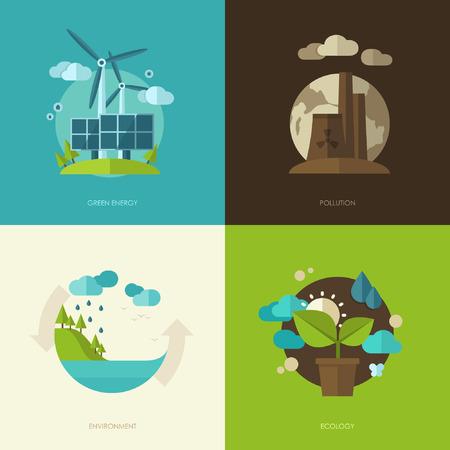 medio ambiente: Conjunto de diseño plano vector ilustraciones de concepto con los iconos de la ecología, el medio ambiente, la energía verde y la contaminación