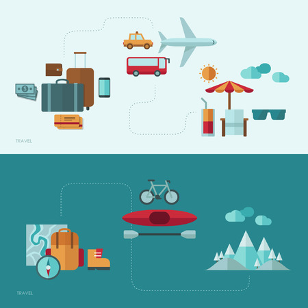 leisure: Flat design vector concept illustration with icons of travel and vacation Illustration