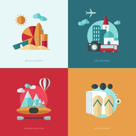 ocean kayak: Conjunto de dise�o plano vector ilustraciones de concepto con los iconos de viajes y vacaciones