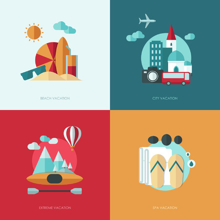 vacation: Set of vector flat design concept illustrations with icons of travel and vacation