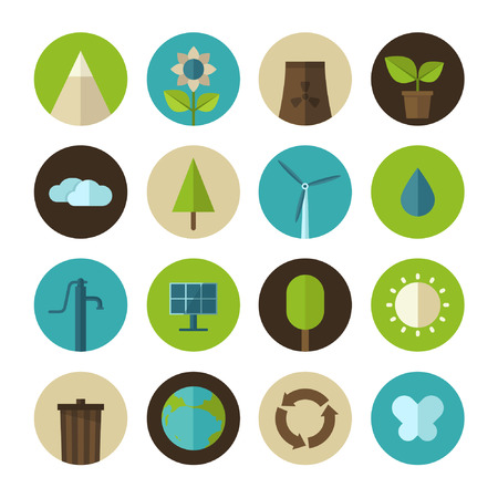 Set of vector flat design concept icons for ecology and environment Çizim