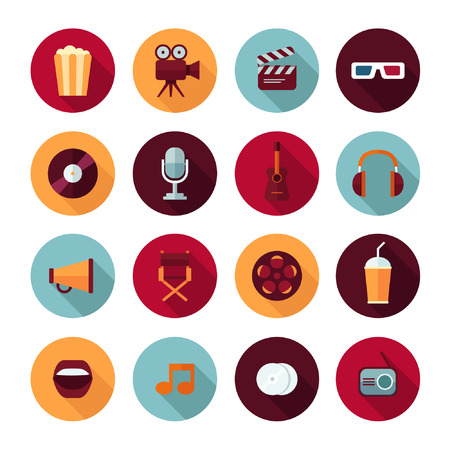 recording: Set of vector flat design concept icons for music and cinema