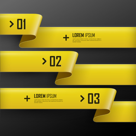 with sets of elements: Vector bright yellow banners set