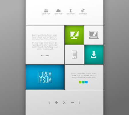 Vector website template design Çizim