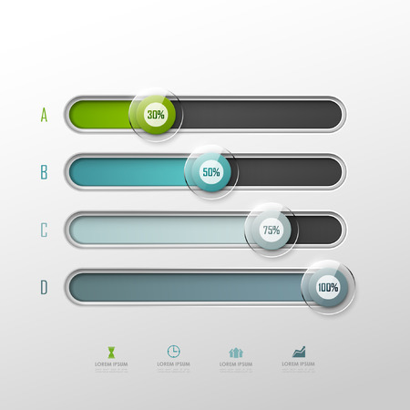 bars: Vector chart template in modern style. For infographic and presentation
