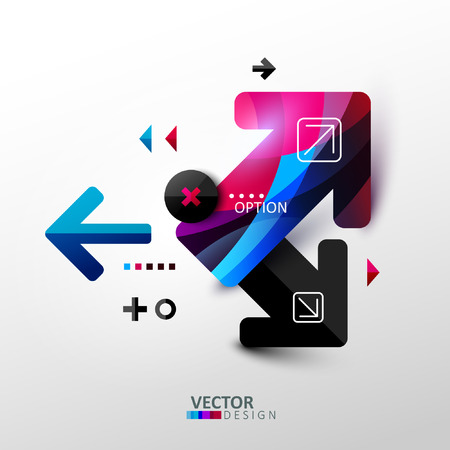 Abstract composition with arrows and other geometric shapes. Template design for infographic. Vector