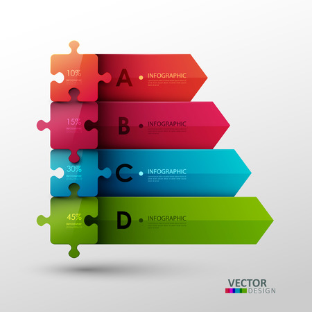 Vector template with puzzle pieces for infographic or presentation Çizim