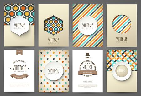geometricos: Conjunto de folletos en el estilo vintage. Vector plantillas de diseño. Marcos y fondos de la vendimia.