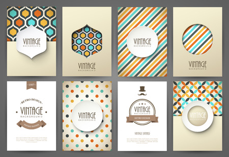Set of brochures in vintage style. Vector design templates. Vintage frames and backgrounds. Ilustração